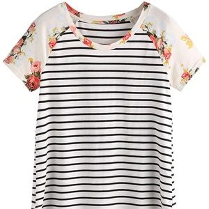 Floral and Striped T-shirt